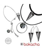 Бижута с кристали Swarovski® SPIKE Silver Night** AB - Черен, Чоукър, Обеци и Гривна 18мм, Код PR S511-3