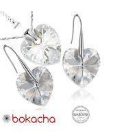Бижута с кристали Swarovski® BIG HEART Crystal, Бял, Колие и Обеци 14мм,  Код PR S409