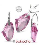 Бижута с кристали Swarovski® GALACTIC 19мм Light Rose- Розов, Колие с обеци,  Код PR S540
