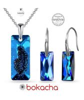 Бижута с кристали Swarovski® Growing Crystal RECTANGLE, Bermuda Blue BBL, Син, Колие и Обеци (26 и 13,5 мм), Код PR S609