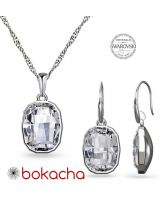Бижута с кристали SWAROVSKI® GRAPHIC Crystal, Бял цвят, Колие и обеци Код PR S641A