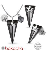 Бижута STAR декорирани с кристали Swarovski® SPIKE, Rainbow Dark - Многоцветен и Silver Night** AB - Черен, Колие и Обеци 18мм, Код PR S579