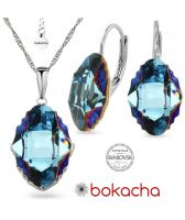 Бижута  с кристали Swarovski® OVAL TRIBE 14мм Metallic Blue Z, Син цвят, Колие и обеци с английско закопчаване, Код PR S561B