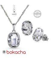 Бижута с кристали SWAROVSKI® GRAPHIC Crystal, Бял цвят, Колие с обеци на винт, Код PR S641