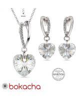 Бижута VALENTINE SWAROVSKI® WHITE HEART Crystal, Бял цвят, Колие и обеци (14 и 10 мм),  Код PRFNL S431