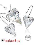 Бижута с кристали Swarovski® WILD HEART Crystal, Бял, Колие и Обеци (17 и 12мм),  Код PR S410