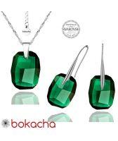Бижута с кристали Swarovski® GRAPHIC Emerald, Зелен, Колие и Обеци 19мм,  Код PR S064A