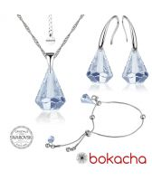 Бижута с кристали Swarovski® RAINDROP Колие, Обеци и Гривна, 14мм, Blue Shade**, Син, Код PR S453A-3
