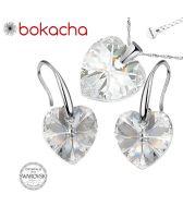 Бижута с кристали Swarovski® HEART Crystal, Бял цвят, Колие и обеци (14 и 10 мм),  Код PR S409B