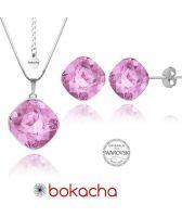 Бижута с кристали Swarovski® TELESCOPIC S Light Rose AB - Розов, Колие и Обеци, 10мм, Код PR S073