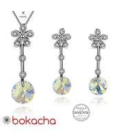 Бижута FLOWER SWAROVSKI® RIVOLI Crystal Aurore Boreale** AB, Бял, Колие и обеци 8мм,  Код PR S310