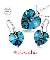 Бижута с кристали Swarovski® HEART Bermuda Blue BBL, Син цвят, Колие и обеци (14 и 10 мм),  Код PRFNO S002B