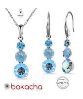Бижута MAGIC с кристали SWAROVSKI® CHATON, Air Blue Opal, Син цвят, Колие и обеци,  Код PR S634