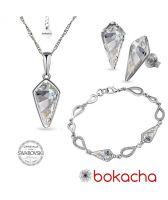 Бижута  с кристали Swarovski® KITE Колие, Обеци и Гривна 14мм, Crystal - Бял цвят, Код PR S606-3
