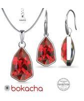 Бижута с кристали SWAROVSKI® SLIM TRILLIANT в Scarlet - Червен цвят, Колие и обеци Код PR S633A