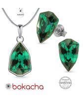 Бижута с кристали SWAROVSKI® SLIM TRILLIANT Emerald, Зелен цвят, Колие с обеци на винт, Код PR S632
