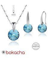 Бижута с кристали Swarovski® RIVOLI Aquamarine AB - Светло син, Колие и обеци 8мм, Код PR S374