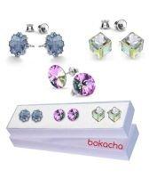 Сет Обеци с кристали Swarovski® JELLY, CUBE и RIVOLI 10мм, 6мм и 8мм, Многоцветни, Код PR S430C