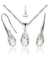 Бижута с кристали Swarovski® BRIOLETTE Crystal, Бял цвят, Колие и обеци 11мм,  Код PR S413