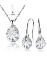 Бижута CRYSTAL SWAROVSKI® MINI PEAR Crystal, Бял, Колие и Обеци (12 и 8мм), Код PR S414