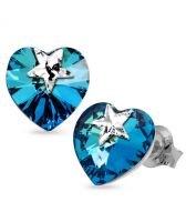 Обеци STAR, украсени със SWAROVSKI® кристали HEART Bermuda Blue BBL 14 мм, Син, Код PR E574