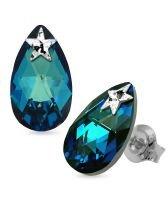 Обеци STAR, украсени с кристали Swarovski® PEAR DROP 16мм Bermuda Blue BBL, Син, Код PR E578