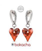 Обеци VALENTINE с кристали SWAROVSKI® WILD HEART, Red Magma**- Червен, Код PR E677