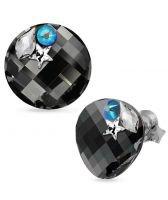 Обеци STAR декорирани с кристали SWAROVSKI® TWIST 18мм Silver Night** AB - Черен, Код PR E555