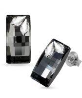 Обеци STAR, украсени с кристали Swarovski®  URBAN 20мм Silver Night** AB - Черен, Код PR E580