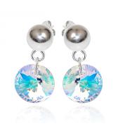 Обеци с кристали Swarovski® RIVOLI GLOBE Crystal Aurore Boreale** AB, Бял, 8мм, Код PR E456
