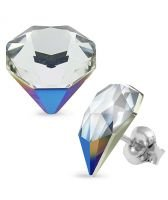 Обеци с кристали Swarovski® TILTED CHATON Crystal, Бял цвят, Код PR E543