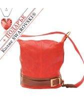 Чанта Естествена Кожа МАДЖОРЕ, FLORENCE, червен/кафяв цвят, Код FL3005