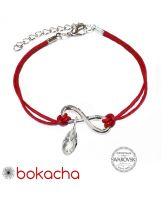 Гривна с червен конец за Безкраен Късмет SWAROVSKI® BRIOLETTE, CRYSTAL бял цвят, Код PR B629