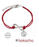 Гривна с червен конец за Безкраен Късмет SWAROVSKI® RIVOLI CRYSTAL бял цвят, Код PR B625