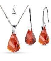 Бижута  с кристали Swarovski® HELIX Red Magma, Колие и Обеци 18 мм, Червен цвят, Код PR S605