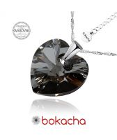Колие с кристали Swarovski® HEART Silver Night** AB - Черен 14 мм, Код PR N008B