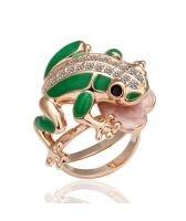 18KG R04175  Дамски пръстен Зелена ЖАБА, Zerga Brand