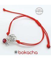 Гривна с червен конец за Късмет, FLOWERS SWAROVSKI® BICONE, CRYSTAL & SIAM, бял и червен цвят, Код PR B660