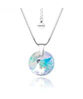 Колие с кристали Swarovski® RIVOLI GLOBE Crystal AB, Бял цвят, 12мм, Код PR N456