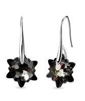 Обеци с кристали Swarovski® EDELWEISS 14 мм, Silver Night** AB - Черен, Код PR E602