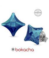 Обеци украсени със SWAROVSKI® STARLET 8мм Bermuda Blue BBL, Crystal, Син, Код PR E590
