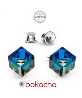 Обеци с кристали Swarovski® CUBE 6мм Bermuda Blue BBL, Син цвят, Код PR E420
