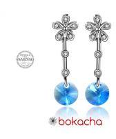 Обеци FLOWER SWAROVSKI® RIVOLI 8мм Aquamarine AB - Светло син, Код PR E312
