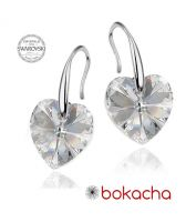 Обеци с кристали Swarovski® HEART Crystal 10 мм, Бял цвят Код PRFNL E409B