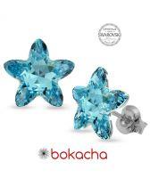 Обеци с кристали Swarovski® STARBLOOM на винт, Aquamarine - Син цвят, Код PR E642