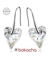 Обеци с кристали Swarovski® WILD HEART Crystal 12мм, Бял цвят Код PR E410