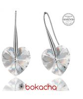 Обеци с кристали Swarovski® BIG HEART Crystal AB 14 мм, Бял, Код PR E031