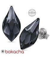 Обеци украсени със SWAROVSKI® FLAME Silver Night** AB - Черен цвят 14 мм, Код PR E601