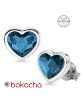 Обеци с кристали SWAROVSKI® MY HEART, Denim Blue Crystal, Син цвят, Код PR E557
