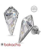 Обеци украсени със SWAROVSKI® KITE ръчна изработка в Crystal 14 мм - Бял цвят, Код PR E606